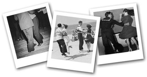 3 snapshots of Balboa dancers