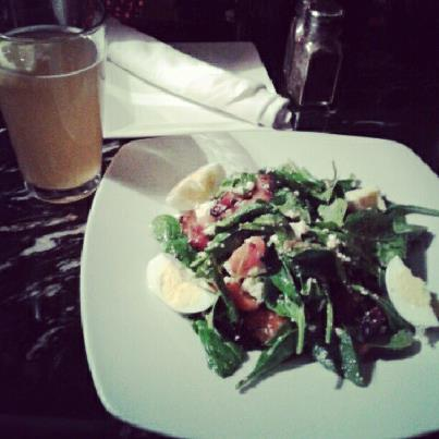 spinach salad and beer